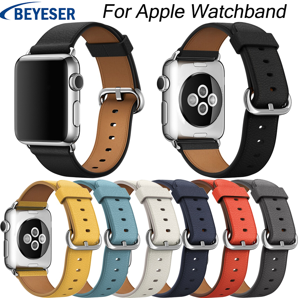 Leather Watchband for Apple Watch Band Series 4 3 2 1 38mm 42mm Qualit Leather for iWatch Sports Strap 40mm 44mm Series 1 2 3 in Watchbands from Watches