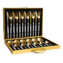 KuBac 24PCS 18/10 Stainless Steel Steak Knife Fork White Gold Dinnerware Set Silve Cutlery With Gift Box Drop Shipping