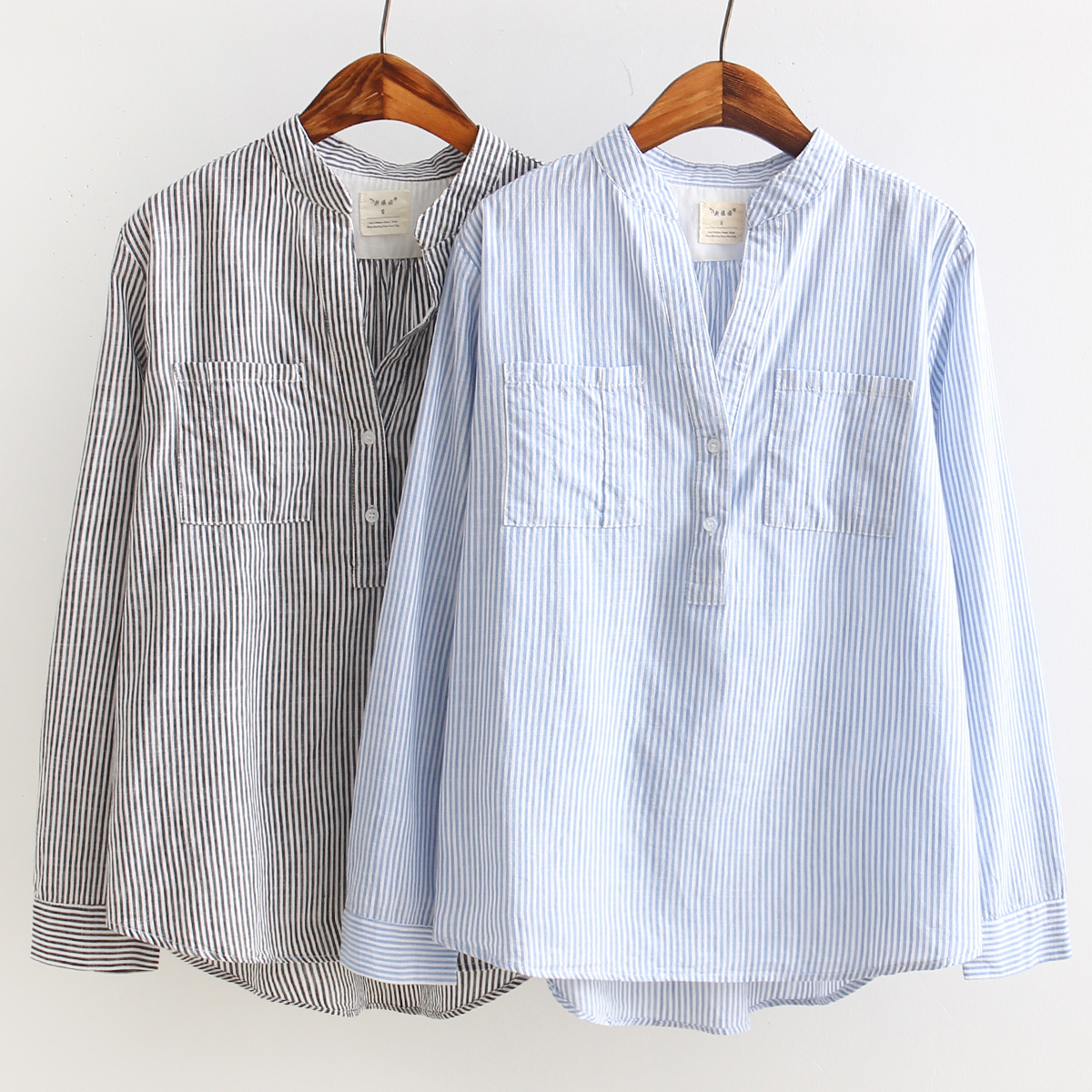 Autumn new arrival blue and white stripe shirt fluid for Blue and white long sleeve shirt