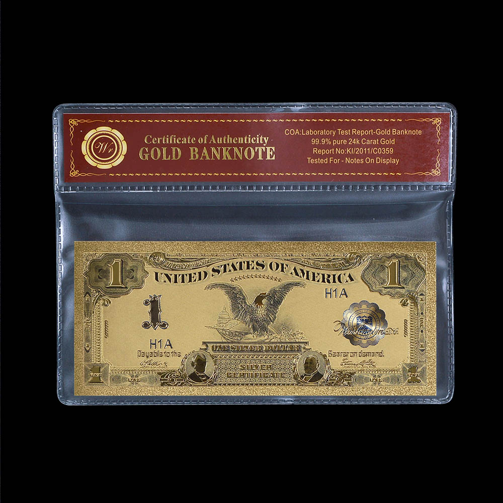 WR Gold Decorations American Gold Banknote Quality 1899 Year One Dollar Colorful Gold Foil Bill Note Fashion Metal Crafts