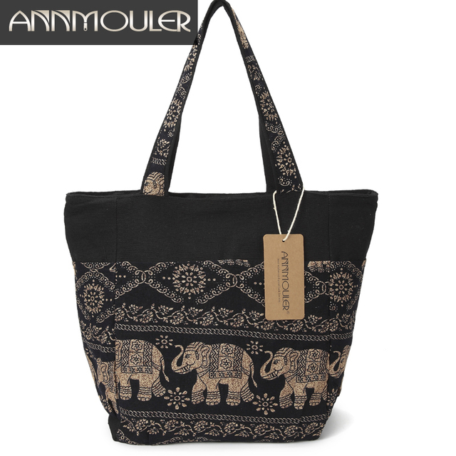 Large Capacity Canvas Tote Bag Elephant Printed Women Tote Bags Canvas Patchwork Handbags Top Handle Cotton Totes