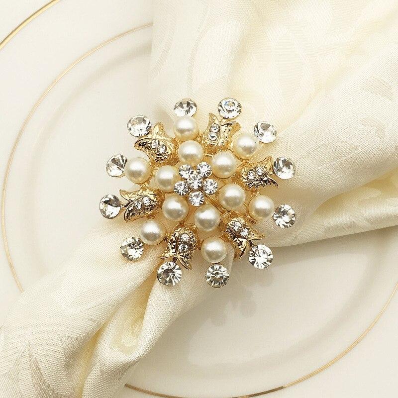 10pcs/lot Hotel Napkin Ring Napkin Holder Round Flower Pearl Napkin Buckle Christmas Wedding Party Napkin Circle Decoration