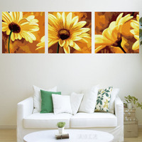 3 PCS Oil Painting By Numbers Sunflower Hand Painted Decoration For Living Room Landscape Decoration Paintings