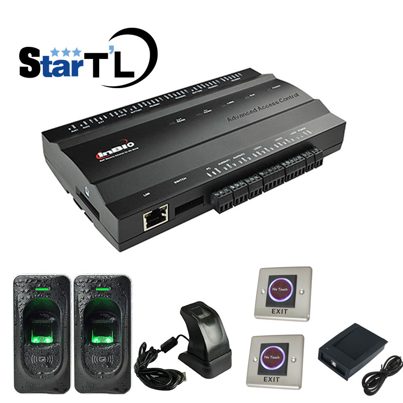 INBIO260 contro de acesso rfid Kit Controle de Acesso Biométrico de impressões digitais + slave zk4500 Leitor + Botão de Saída do Sistema de Controle de Acesso
