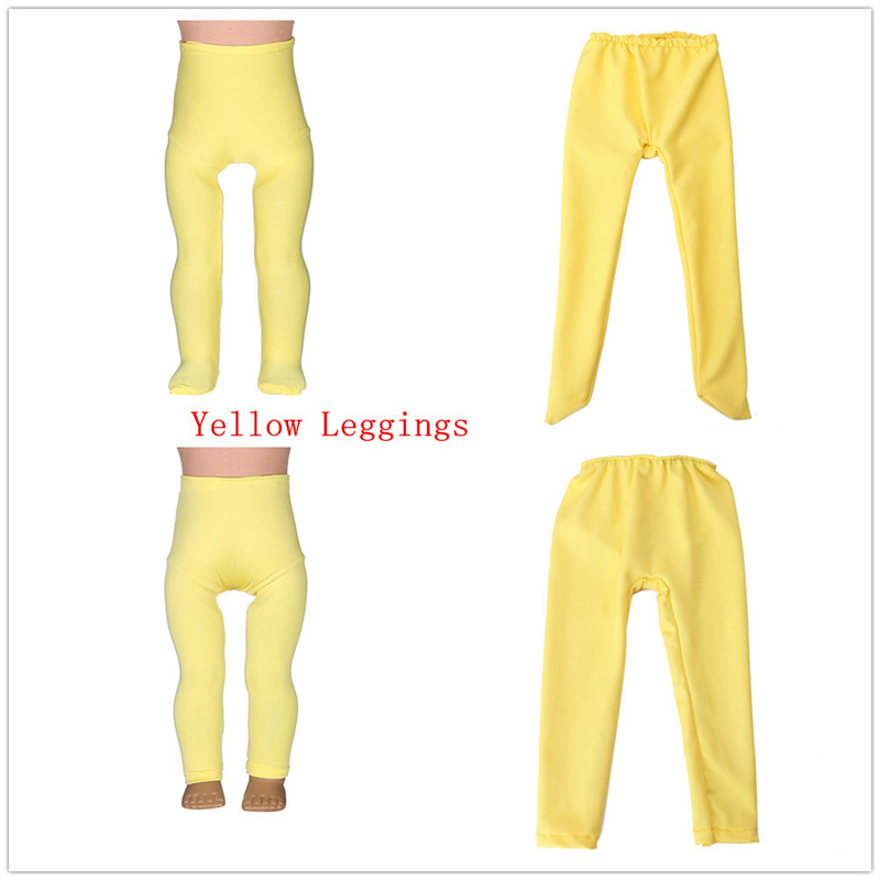 2 kinds Yellow Leggings Tight Pants Fit 18 Inches American Girl Doll Baby Doll Clothes Accessories Handmade Fashion Pants Clothe