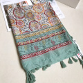 Women Voile Scarf Ethnic Floral Long Shawl Large Size Thin Scarves Green Tassels Neck Wear Brand New [0711]