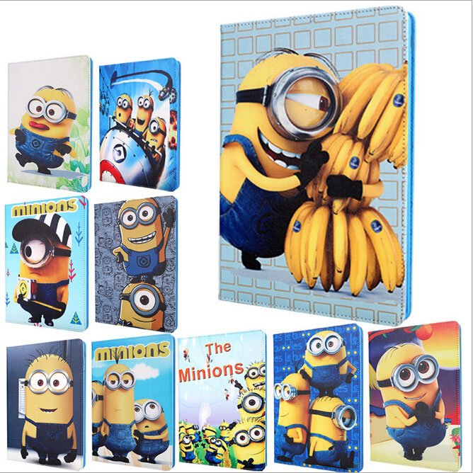For iPad 2 3 4 case cover,Autosleep&autowake stand function,Cute cartoon Minion Despicable Me Leather&Soft TPU A1460 A1430 cases