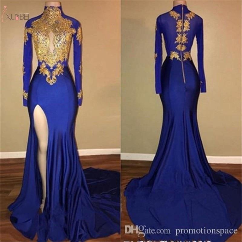 2019 Royal Blue Satin Long Prom Dresses Mermaid Sleeve Applique High Split Gown Gala Dress Free Fast Shipping