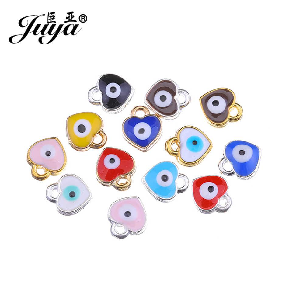 JUYA Schwimm Charms Anhänger Für Schmuck Armband Machen 8x7mm 15 stücke Herz Form Bösen Augen Handgemachte Anhänger lieferanten AE0078