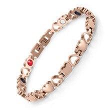все цены на Stainless steel heart-shaped bracelet women's bracelet vacuum electroplating magnet Bracelet онлайн