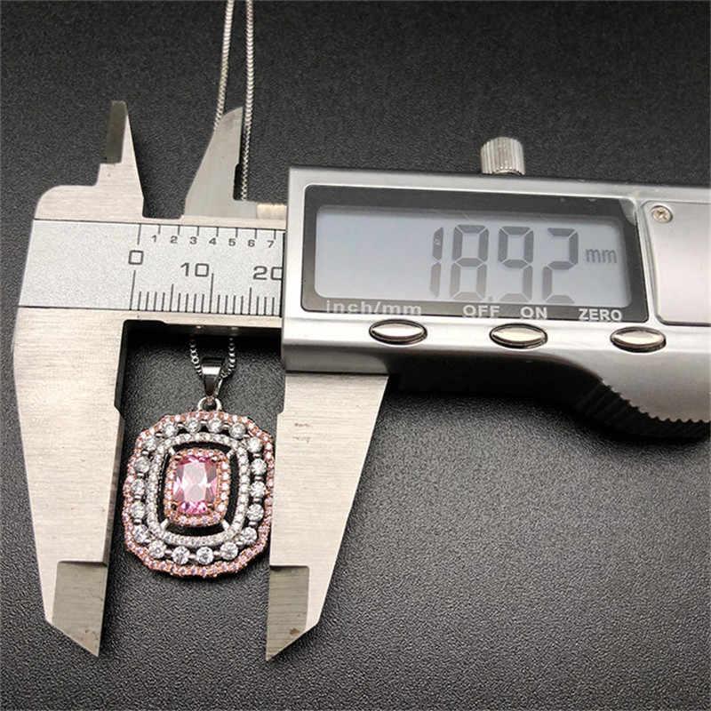 Anhänger Halsketten Frauen S925 Sterling Silber Bunte Diamant Rosa Topaz Temperament Elegante Halskette Set Edlen Schmuck