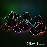 Wholesale Glow Baseball Hats Party Supplies 10 Colors Available LED Caps Powered By DC 3V Dance