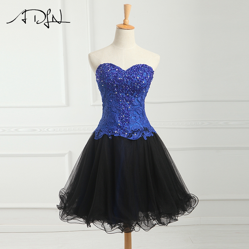ADLN Sweetheart Little Black Dress Short Bridesmaid Dress with Beads Vestidos de Festa Curto A-line Knee Length Party Gown