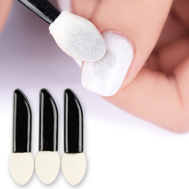 20pcs Sponge Powder Puff Nail Brush Double Sided Eyeshadow Stick