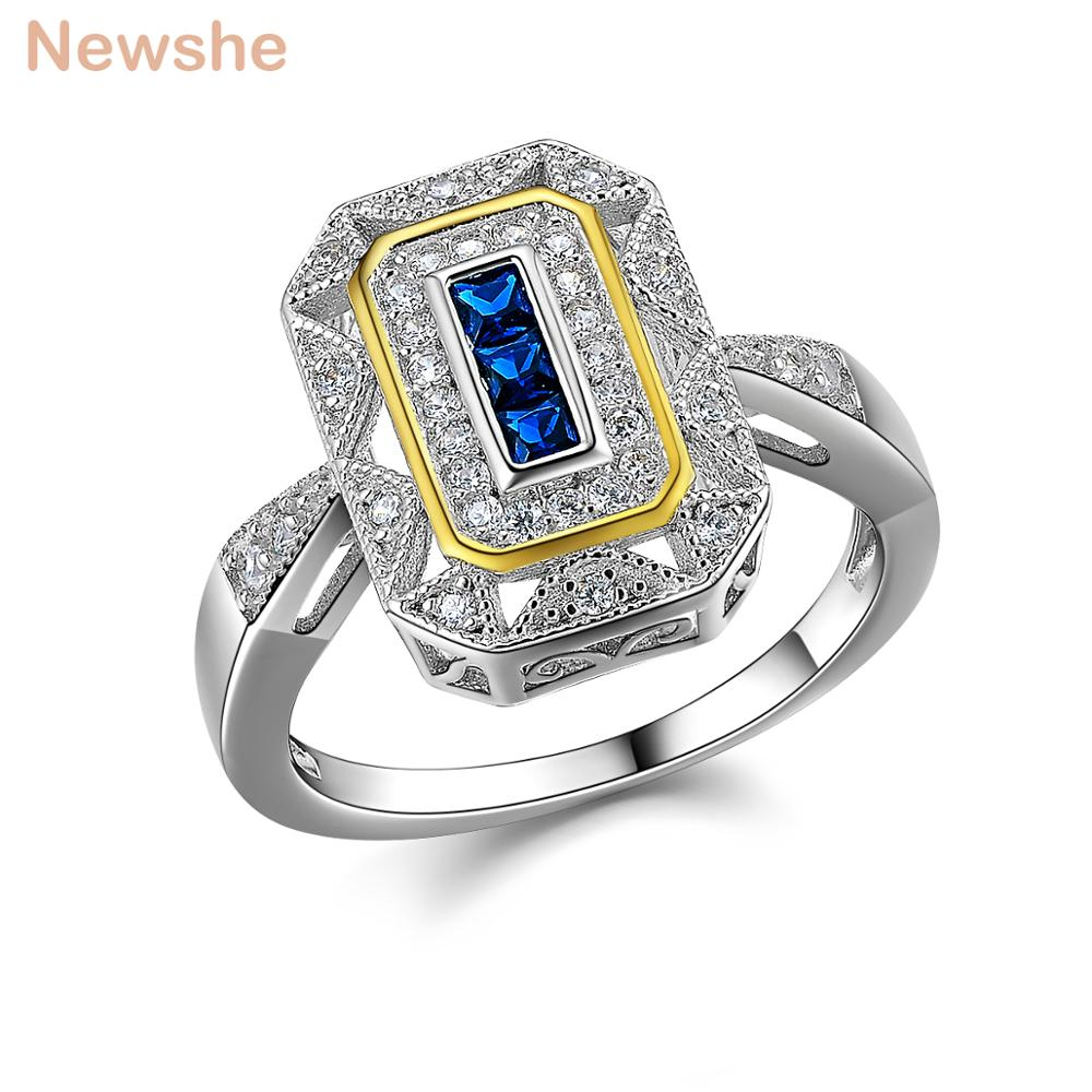Newshe Wedding Ring Classic Jewelry Solid 925 Sterling Silver White & Gold Color Plated Blue Zirconia Cocktail Ring For Women punk style solid color hollow out ring for women