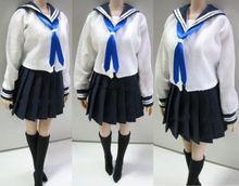 1/6 Female Clothes Students School Uniform & Socks Set  3 Colors for 12 inches PH,HT,Kumik Body Figures