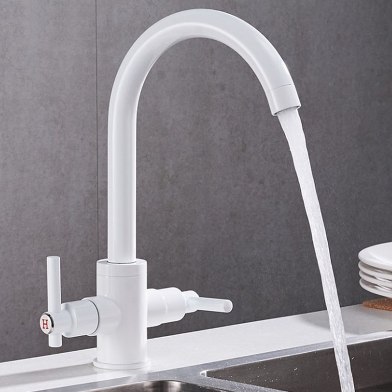 2 Handles Kitchen Sink Faucet Hot Cold Faucets Single Hole Kitchen Tap Brass Paint Black/White Finish Sink Mixer Taps kitchen sink faucet black oil brushed brass crane kitchen faucets hot and cold water mixer tap single hole mixer tap torneira