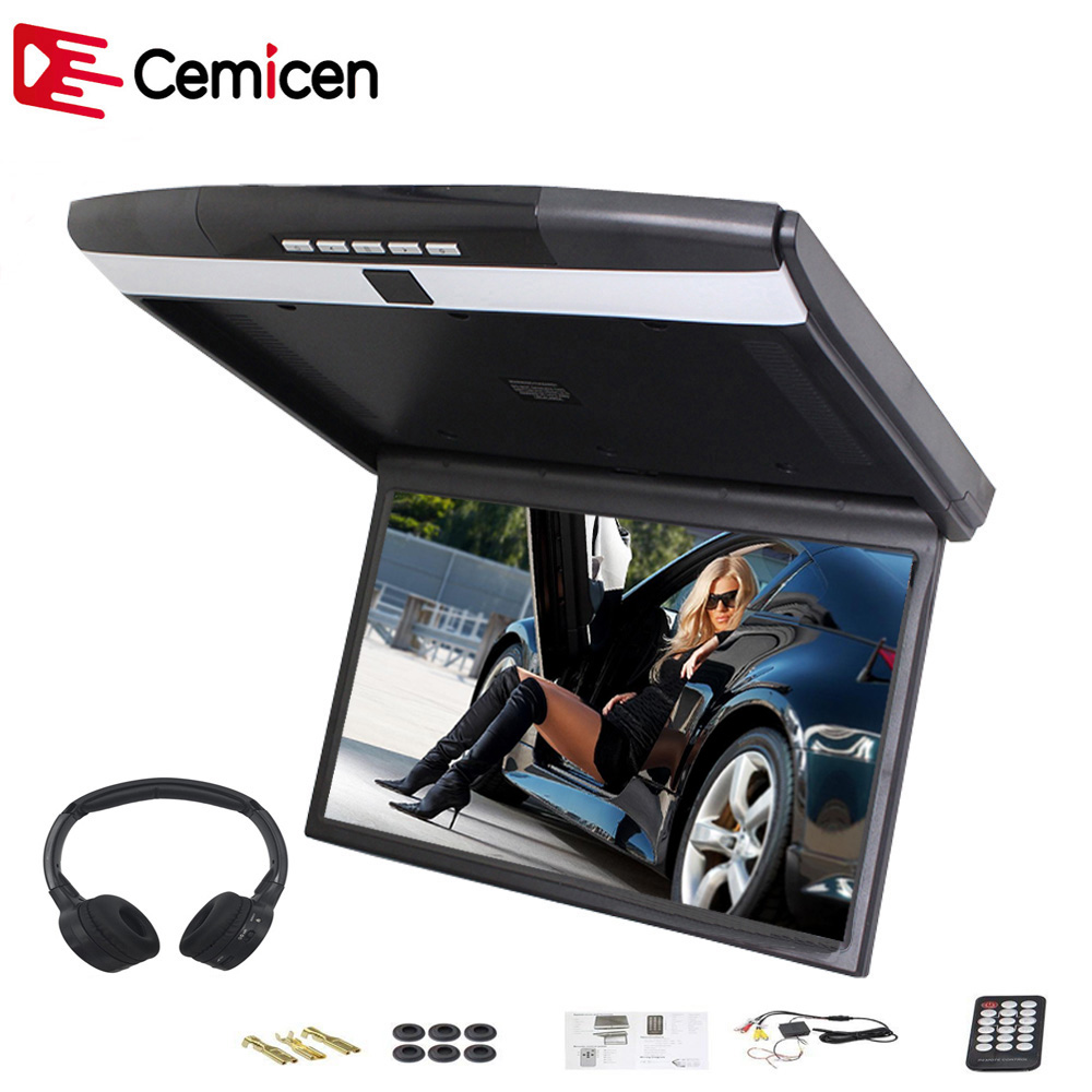 Cemicen 17.3 Inch Car Roof Flip Down Mount Monitor Support