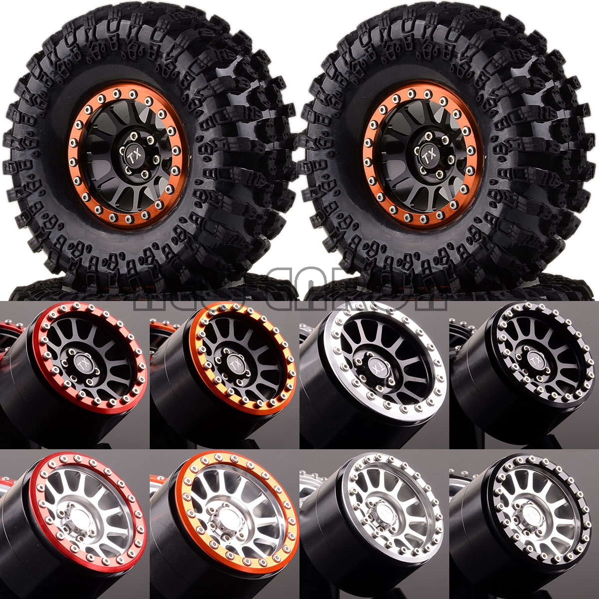 NEW ENRON 1:10 SET Aluminum 2.2 Beadlock Wheels & Tires 2022-3021 FOR RC 1/10 Rock Crawler 1 10 inflatable tires 4p set air pneumatictires with alloy beadlock wheels set f rc crawler rock crawler tires toy cars parts