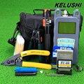 KELUSHI 19 em 1 Kit de Ferramentas De Fibra Óptica FTTH com FC Conector SC + Red Laser Fiber Optic Cable Tester Visual Fault localizador