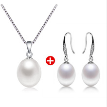 2017 9mm Real Natural Freshwater Pearl set Women Bridal Wedding Accessories 925 sterling silver fashion jewelry sets For Women