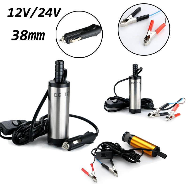 38mm Transfer Refueling Submersible Pump DC 12V 24V Diesel Fuel Water Oil Pump For Car Camping Fishing Crocodile Clip