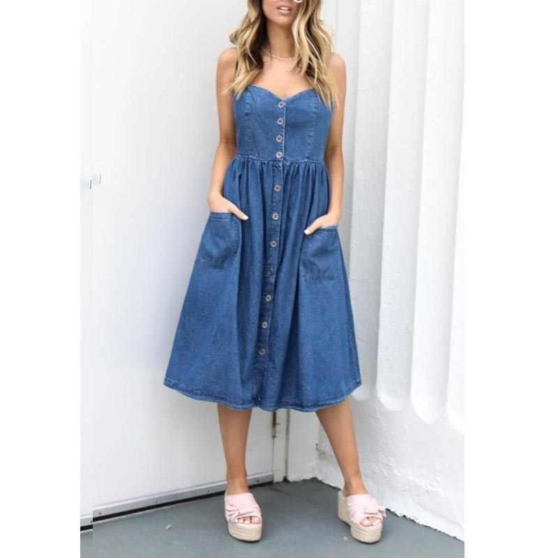 Летнее платье женское Плиссированное джинсовое платье с открытой спиной на бретельках повседневное пляжное платье без рукавов Vestidos 2019