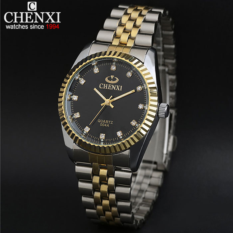 New arrival ChenXI CX-004A Men watch lovers watch, men full steel watch gold steel with waterproof gold rhinestone watches men chenxi 2015 cx 017e
