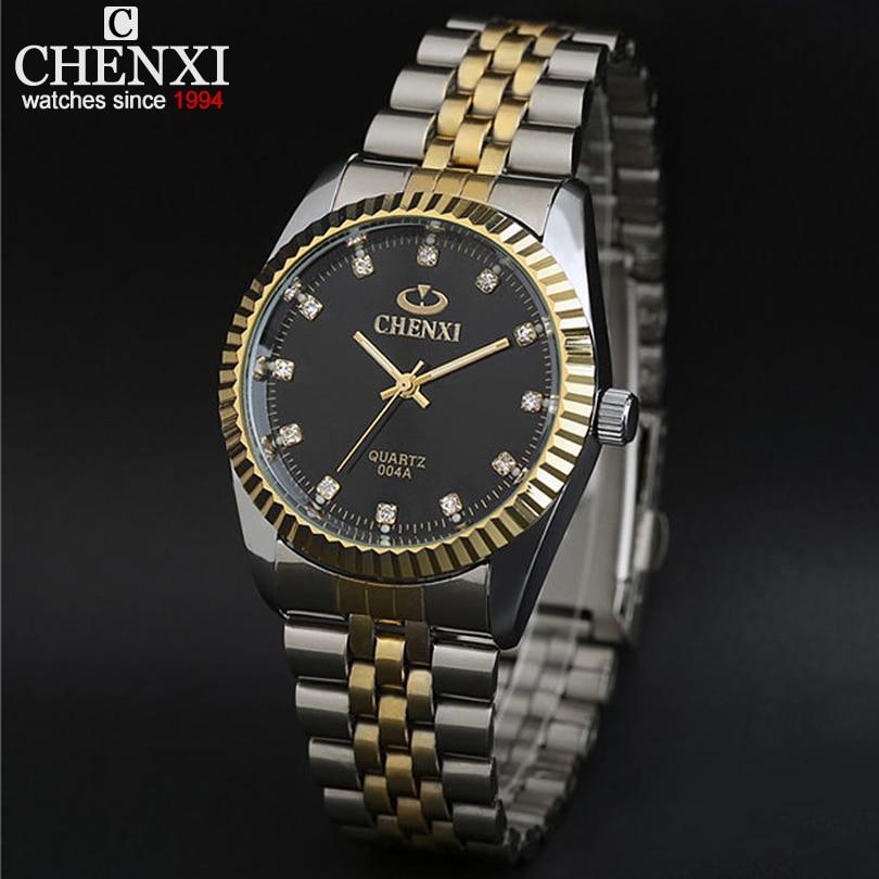 New arrival ChenXI CX-004A Men watch lovers watch, men full steel watch gold steel with waterproof gold rhinestone watches men все цены