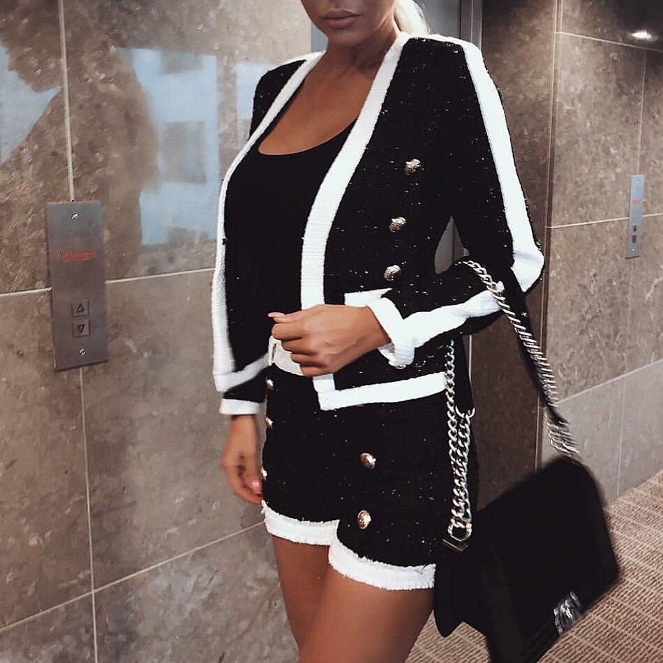 HAGEOFLY Haute Qualité 2 Deux Pièces Ensemble Femmes Noir Blanc Pantalon Court Double Lion Bouton Blazer Manteau avec Shorts Femmes de Costume