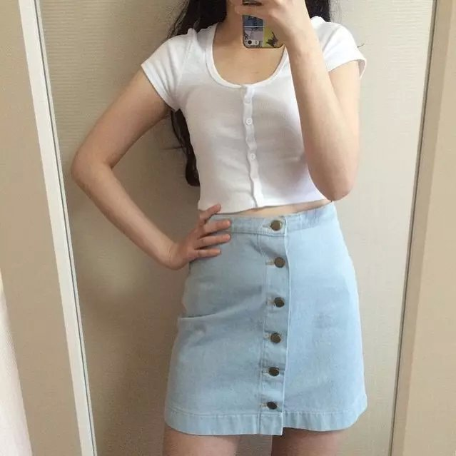 Aliexpress.com : Buy Button Front Denim A Line Skirt For Women ...