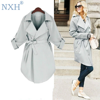 NXH long coat woman fashion   trench   loose plus size overcoat womens tops and blouses coat 5xl V-Neck windbreaker tunic