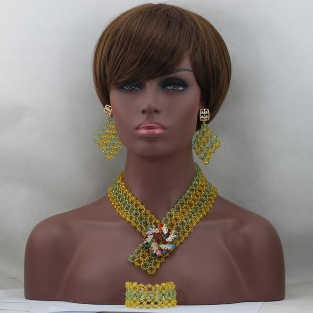Нигерийский Свадебные Африканские Бусы Зеленый/Желтый Дубай Золотое Ожерелье Обручальное/Свадьба Невесты Комплект Ювелирных Изделий Бесплатная доставка WD416