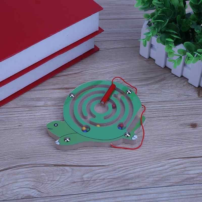 עגול חרוזים מגנט פאזל צעצועי עץ מבוך חריץ משחק לוח למידה חינוכית צעצועי מודיעין לילדים ילדים