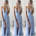 Dress chiffon sem mangas mulheres sólidos azul profundo decote em v oco out backless assimétrica dress vestidos de playa tonsee