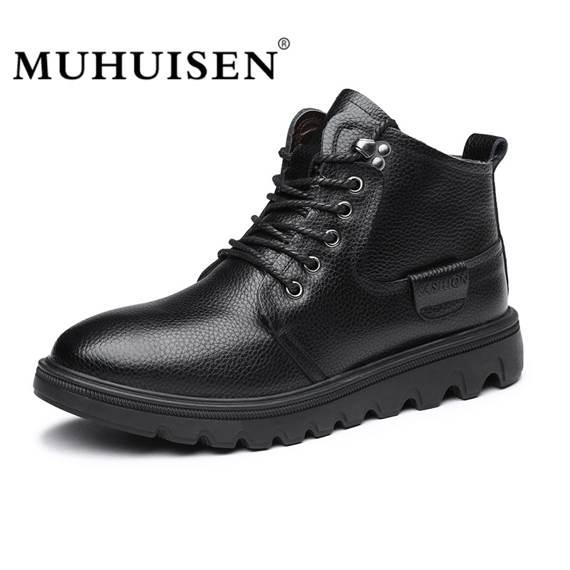 MUHUISEN Winter Men Genuine Leather Shoes Fashion Casual Plush Warm Ankle Boots Lace Up Flats Male Work Snow Boots Comfortable club lace up genuine leather men boots snow winter warm plush causal flats shoes mens waterproof ankle boots plus size 37 47
