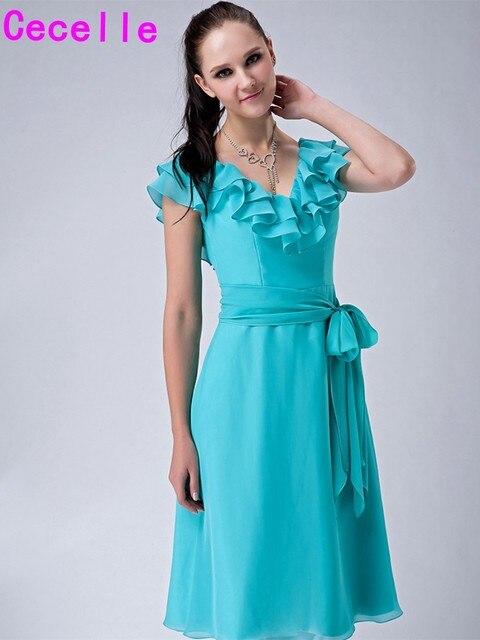Mint Short Modest Bridesmaid Dresses With Sash V Neck A line Knee ...