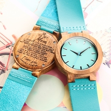 DIY Customized Logo Unique Blue Watch Family Gifts To My Mom Wood Watches Clock Women Fashion Leather Band Quartz Wristwatches