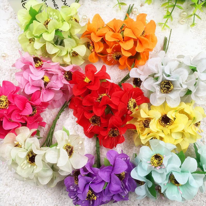 6 PCS/artificial silk gerbera daisies wedding bouquet home ...