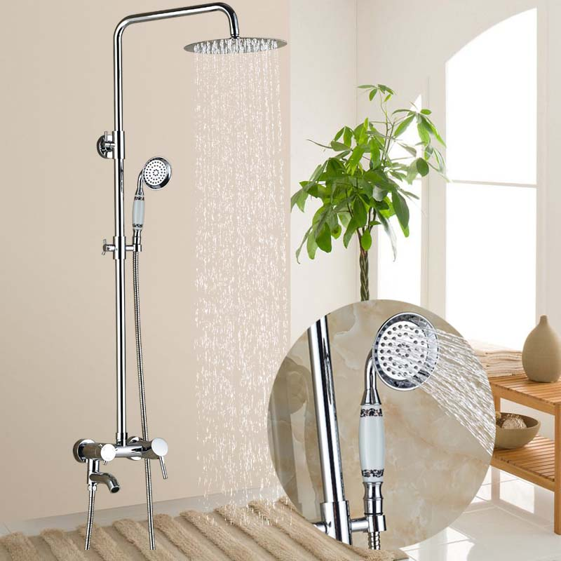 Wholesale And Retail Wall Mounted Shower Faucet Set Tub Spout Mixer Tap W/ Ceramic Hand Shower wholesale and retail promotion wall mounted bathroom tub faucet spout w hand shower sprayer antique brass shower mixer tap
