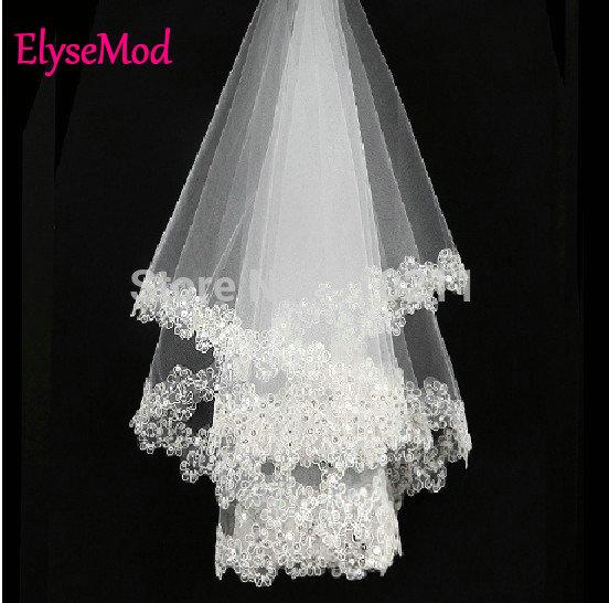 Отличный новый белый / слоновая кость свадебные фаты с кружевными аппликациями блестки бесплатная доставка