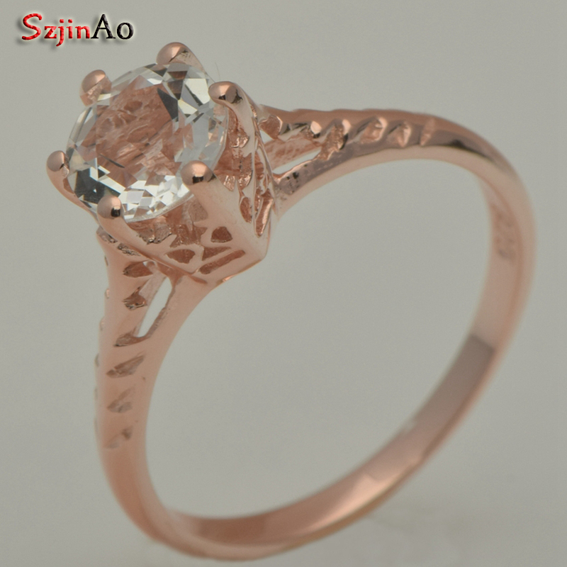 Szjinao Custom Real Natural White Stone 14 k Rose Gold Engagement Ring Woman Man Married Gift Wholesale riverside riverside eye of the soundscape 5 lp 180 gr