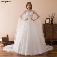 In Stock White Lace Wedding Dress with Cape Ivory Wedding Dresses Long Chic Appliques Tulle Bridal Gown vestidos de novia