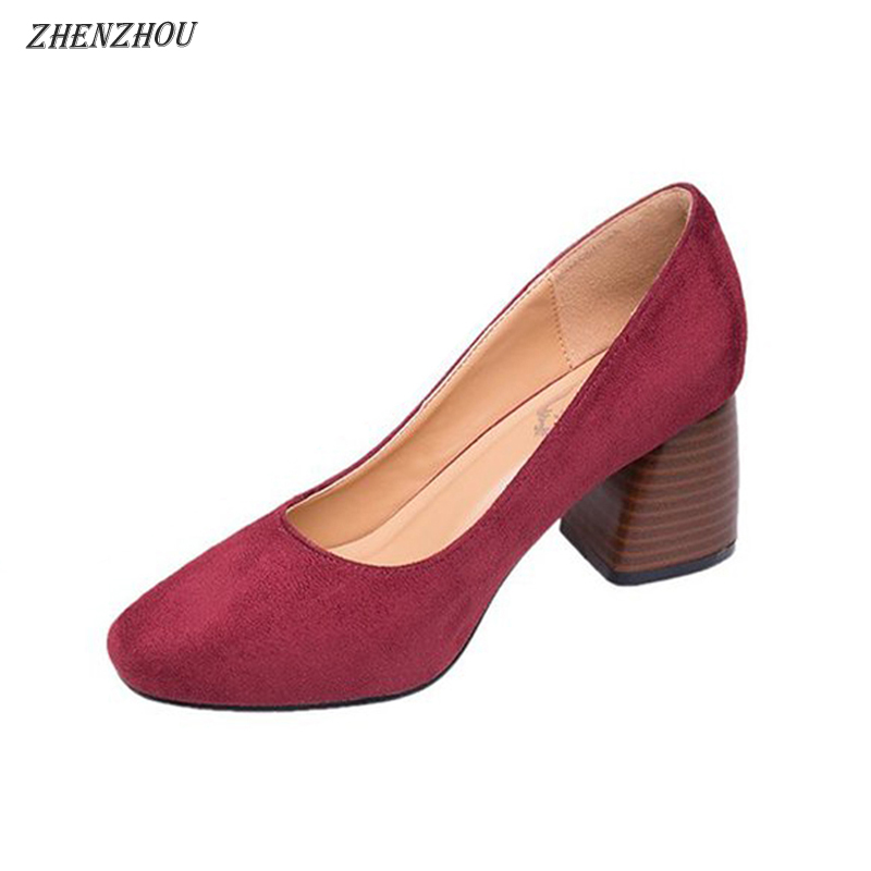 ZHENZHOU shoes woman 2018 new style Spring and autumn Round head shallow mouth with high heels side with women's shoes