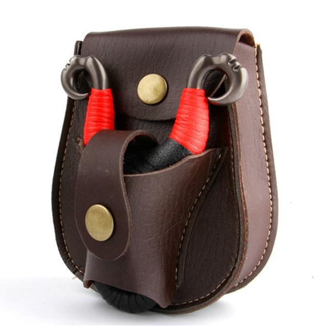 Professional steel ball Slingshot package Outdoor sports leather Slingshot bag back through the belt for hunting 3