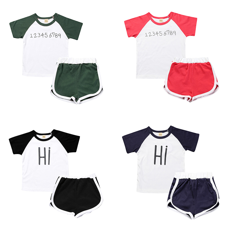 2 Hot Sell Baby Boys Girls Clothes Childrens Clothing Casual Shirt + Shorts Kids Clothes Sports Suits Retail TZ021