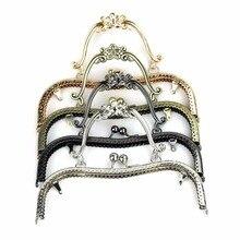 4 pièces/lot 20.5 cm bronze argent doré noir fleur de prunier motif métal sac à main cadre baiser fermoir poignée sac accessoires