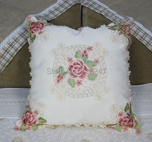 Elegant 100% Polyester Floral Embroidery Throw Pillowcases Cover Embroidered <font><b>Pillow</b></font> <font><b>Case</b></font> Square <font><b>50*50cm</b></font> image