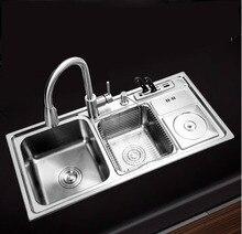 910*430*210 мм Многофункциональный 304 нержавеющая сталь кухонная раковина двойной чаша крылом ручной щеткой Matte seamless сварки раковина