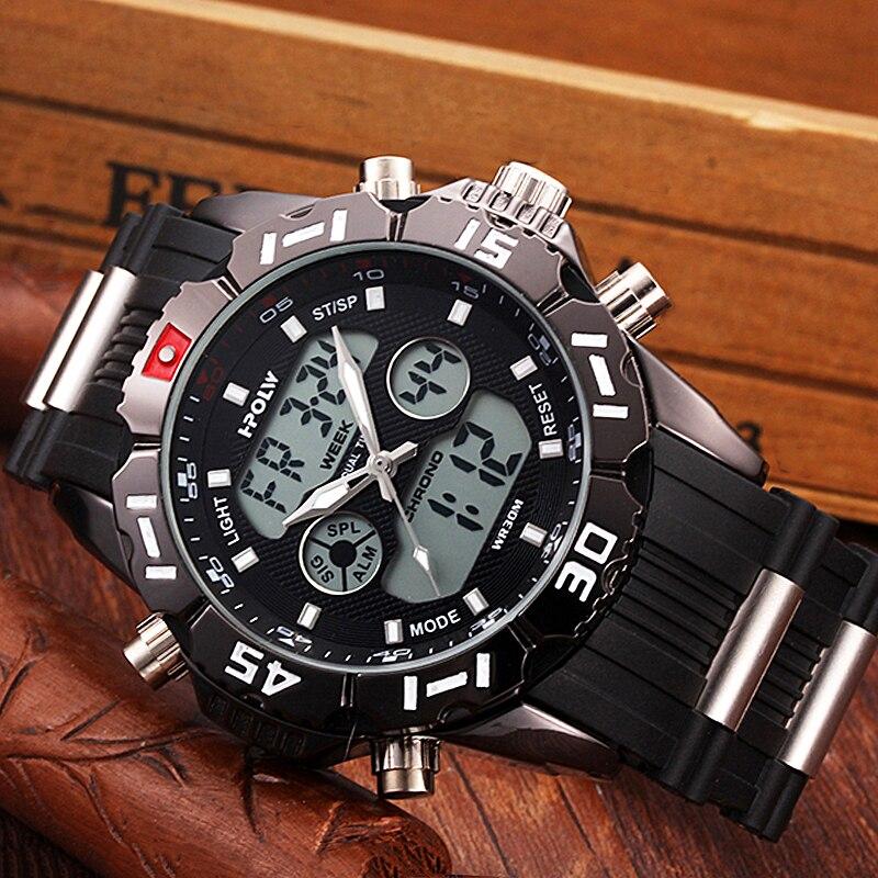 HPOLW Brand Men Sports Watches Fashion Chronos Rubber Men's Waterproof LED Digital Watch Man Military Clock Relogio Masculino